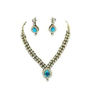 Set Studded with Turquoise Stone Latest Bollywood Necklace Jewelry