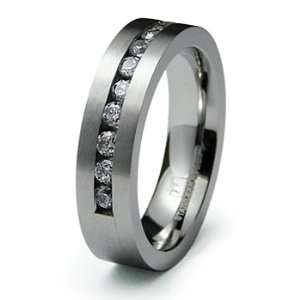 Mens Half Eternity CZ Stainless Steel Wedding Band Ring