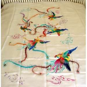 Chinese Silk Embroidery Bedspread Phoenix White