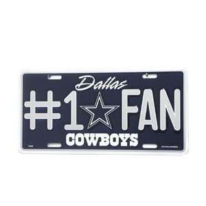 #1 Fan Metal License Plate   Dallas Cowboys