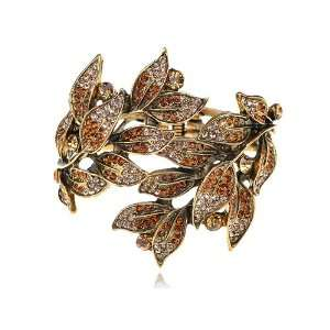 Topaz Indian Red Crystal Rhinestone Gold Tone Leaf Plant