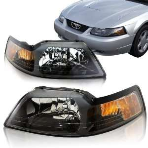 1999   2004 Ford Mustang 1pc Design Black Housing Headlights with