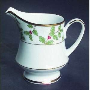 Holly And Berry Gold Creamer, Fine China Dinnerware
