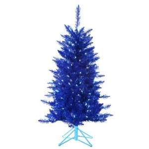 com 4 Pre Lit Designer Blue Tiffany Tinsel Artificial Christmas Tree
