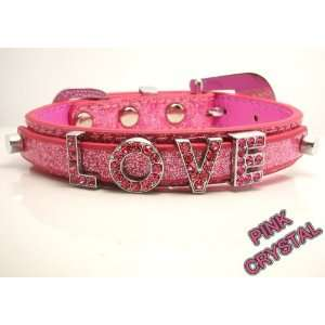 Large Baby Pink Glitter Leather with Swarovski Grade Crystal Pet