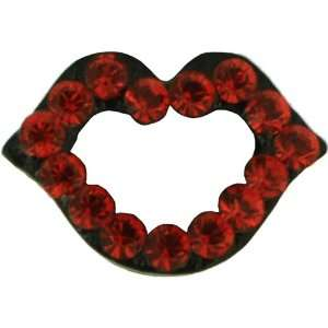 Red Lips Tag Pins Swarovski Crystal Pin Brooch Jewelry