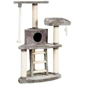 World Tri Level Jungle Gym Cat Furniture, Grey Plush