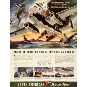 1943 Ad North American Aviation Mitchell Bombers Rabaul WWII