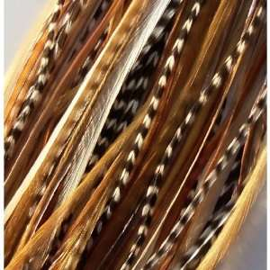 Feathermania Natural Ginger Mix Feather Hair Extension   5 Feathers
