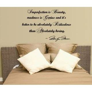 Marilyn Monroe Imperfection Is Beauty Wall Decal Decor QuoteLarge