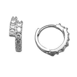 Two Tier Pave 14K White Gold Huggie Earrings Jewelry