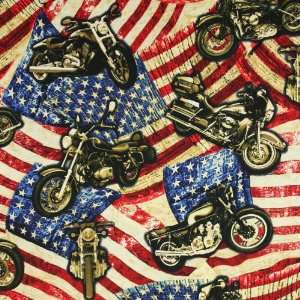 Timeless Treasures Patriotic Flags & Harley Davidson Motorcycles Red