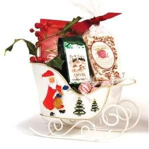 Tin White Sleigh Santa Basket   Christmas Holiday Gift Basket Supplies