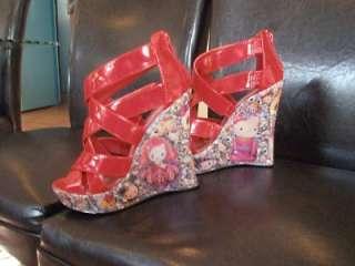 TatsMySkull Custom Shoes   Hello Kitty, Red, Wedge Heel, Sz 6.5   One
