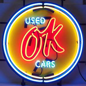 Chevy Vintage OK Used Cars Neon Sign Gm American Auto Light Garage Man