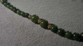 ANTIQUE 14 K YELLOW GOLD GREEN JADE BOLD FANCY BEAD TENNIS NECKLACE