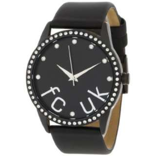 FCUK Womens FC1053BB Stainless Steel Ion Plating Black Satin Strap