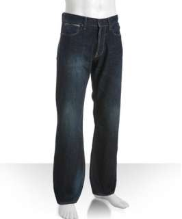 Gilded Age medium blue wash denim button fly relaxed fit jeans