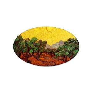 Olive Trees with Yellow Sky and Sun By Vincent Van Gogh Oval Sticker