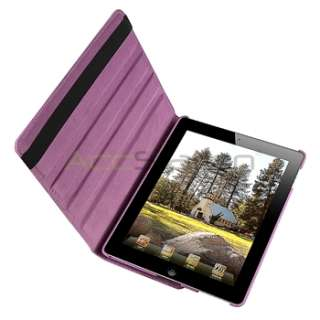 For iPad 2 360 Rotating Magnetic Hard Cover Leather Case w/ Swivel