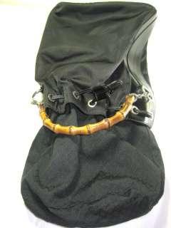 GUCCI Black Leather & Nylon Bamboo Handle Drawstring Bucket Bag