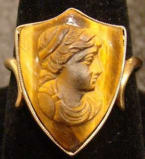 Antique 14K Gold Tiger Eye Shield Cameo Ring Classical Woman Profile