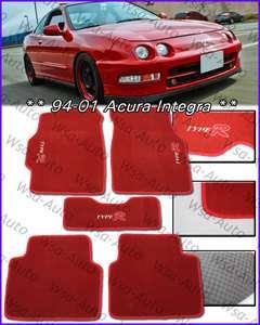 5pcs Carpet OEM Floor Mats TYPE R RED Acura Honda DC2 JDM Style