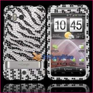 Bling Diamond Black Zebra Full Hard Case Cover For HTC Thunderbolt 4G