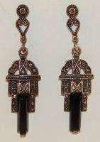 Art Deco Sterling Silver Onyx & Marcasite Dangle Earrings