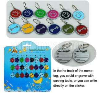 PET ID TAGS TAG Stainless Steel DOG CAT COLLAR CHARMS