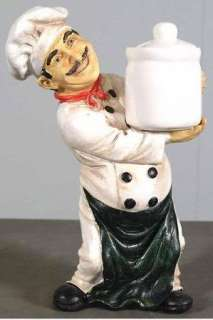 Collectible Italian Bistro Fat Chef Holding Jar Figure Statue