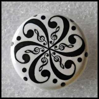 Music   Bass Clef   Flower Art Tattoo Style   Button