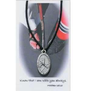 Hockey Religious Sport Medal and prayer card set Christian Catholic