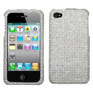 Silver Crystal Bling Hard Case Cover Apple iPhone 4 4G