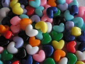 200 ACRYLIC HEART PONY BEADS 12mm Bird Toy Parts Crafts