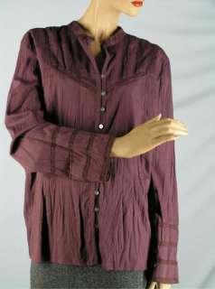 JILL Eggplant Purple SHIRT TOP BLOUSE sz XL Stretch Cotton Lace