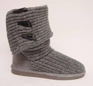 BEARPAW WOMENS KNIT TALL WINTER SHEEPSKIN BOOT 658W GRAY SELECT SIZE