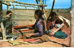 Woman Weaving Rug Loom Children Native American Indian Chrome Postcard
