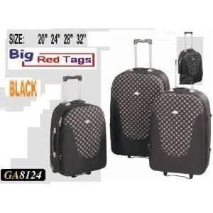 GA8124 BLACK Rolling Travel Luggage Set 4 pc duffel bag