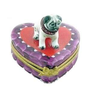 Cute Pug on Heart French Limoges Box
