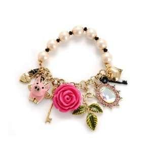 Betsey Johnson Rose Garden Pig Charm Stretch Bracelet