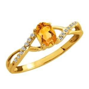 0.48 Ct Oval Citrine and Topaz Gold Plated Sterling Silver