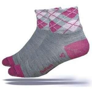 Defeet Arygle Wooleator Socks   Grey/Pink Sports
