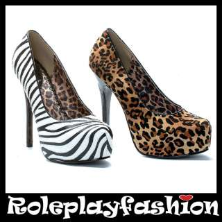 ELLIE SHOES BETTIE PAGE SEXY PLATFORM ANIMAL PRINT PUMPS HEELS |