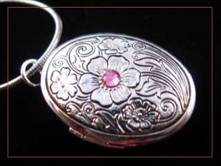 Elegant Pink Crystal Flower Silver Oval Picture Locket Charm Pendant