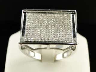 MENS 10K WHITE GOLD ROUND CUT PAVE DIAMOND XL PINKY FASHION RING 1 CT