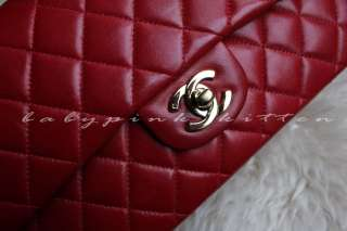 CHANEL RED LAMBSKIN CLASSIC FLAP BAG 2.55 GOLD HW