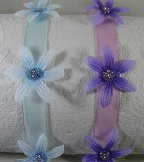 Lot of 2 Baby Infant Newborn Ribbon Flower Headband, Velcro Closure