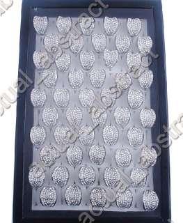 wholesale 10pcs crystal rhinestone argent ring free
