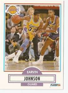 1990 91 Earvin Magic Johnson Fleer Basketball Trading Card #93